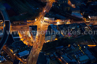 Aerial view of Shoreditch High Street and Great Eastern Street at night, London