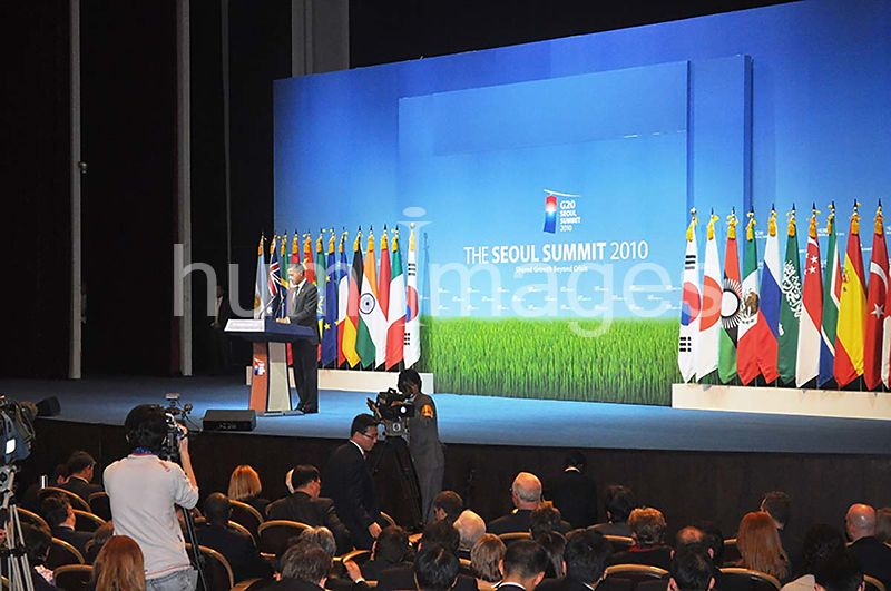 President Obama speaking at the G-20 Summit in Seoul, South Korea. 2010