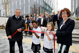 Free First Use.New public realm opens beside the St Vincent Plaza, Glasgow..2.10.15.Mark Glatman (Barbour jacket), chief exec...