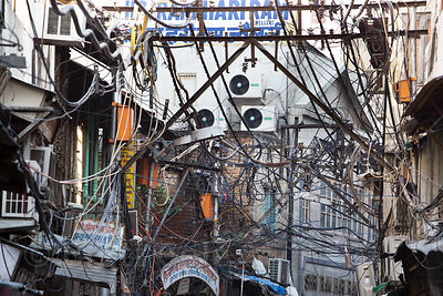 A massive tangle of electrical wires in Paharganj, Delhi, India