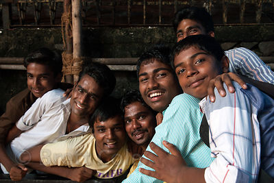 Portrait of a group of men in the Kokri Agar slum area, near Antop Hill, Mumbai, India.