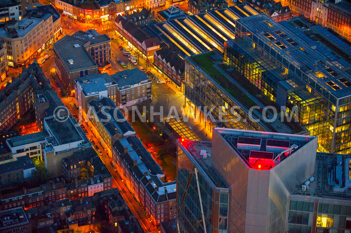 Aerial view of Spitalfields Market at night, London