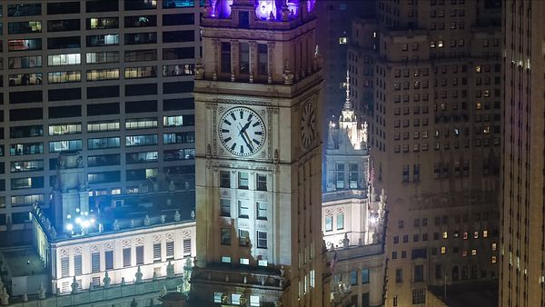 Close Up: Spinning Hands of Time - Wrigley Clock Tower