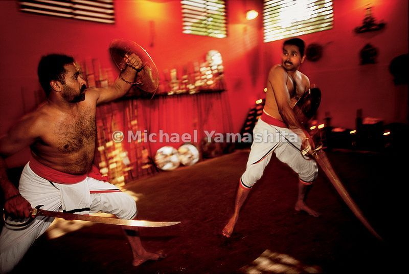 Combatants in Calicut demonstrate Kalaripayatta, which was developed in India in the 12th century and exported to China, wher...