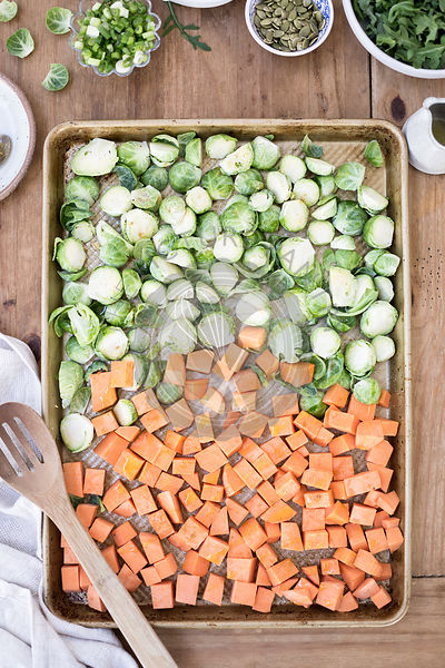 Sweet Potato and Brussels Sprouts on a baking tray
