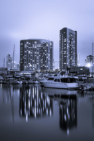 Embarcadero Marina at Night in San Diego California