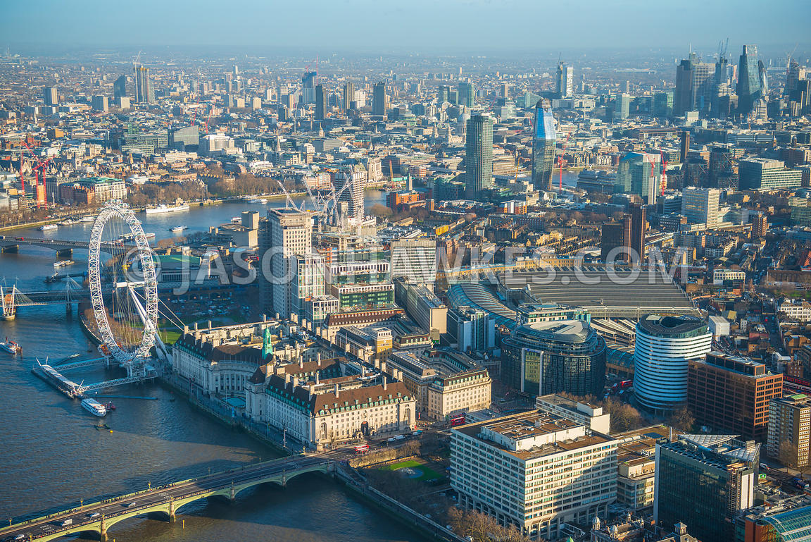 Aerial view of London, Shell Building redevelopment towards The Shard.
