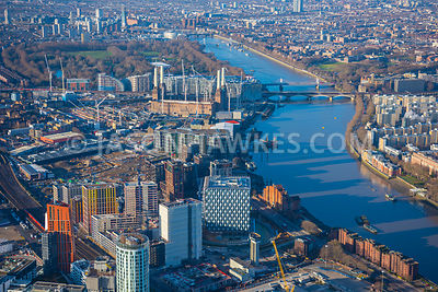 Aerial view of London, New US Embassy with River Thames towards Battersea Park.