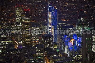 City of London with the Heron Tower lit up in blue