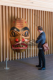 Viewing the Dogfish Mask by Robert Davidson at the Audain Art Museum in Whistler BC First nations and aboriginal artwork. Photo by Scott Brammer - coastphoto.com