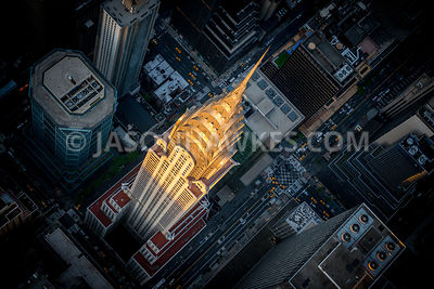 Looking down onto The Chrysler Building at sunset