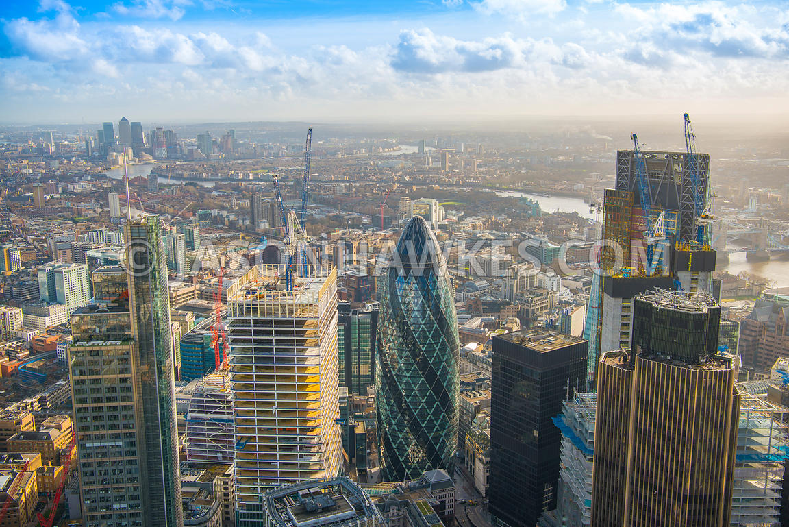 Aerial view of London, construction on Bishopsgate with Heron Tower and Tower 42.