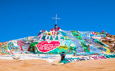 Salvation Mountain is an art installation covering a hill north of Calipatria, California, near Slab City and just a few mile...