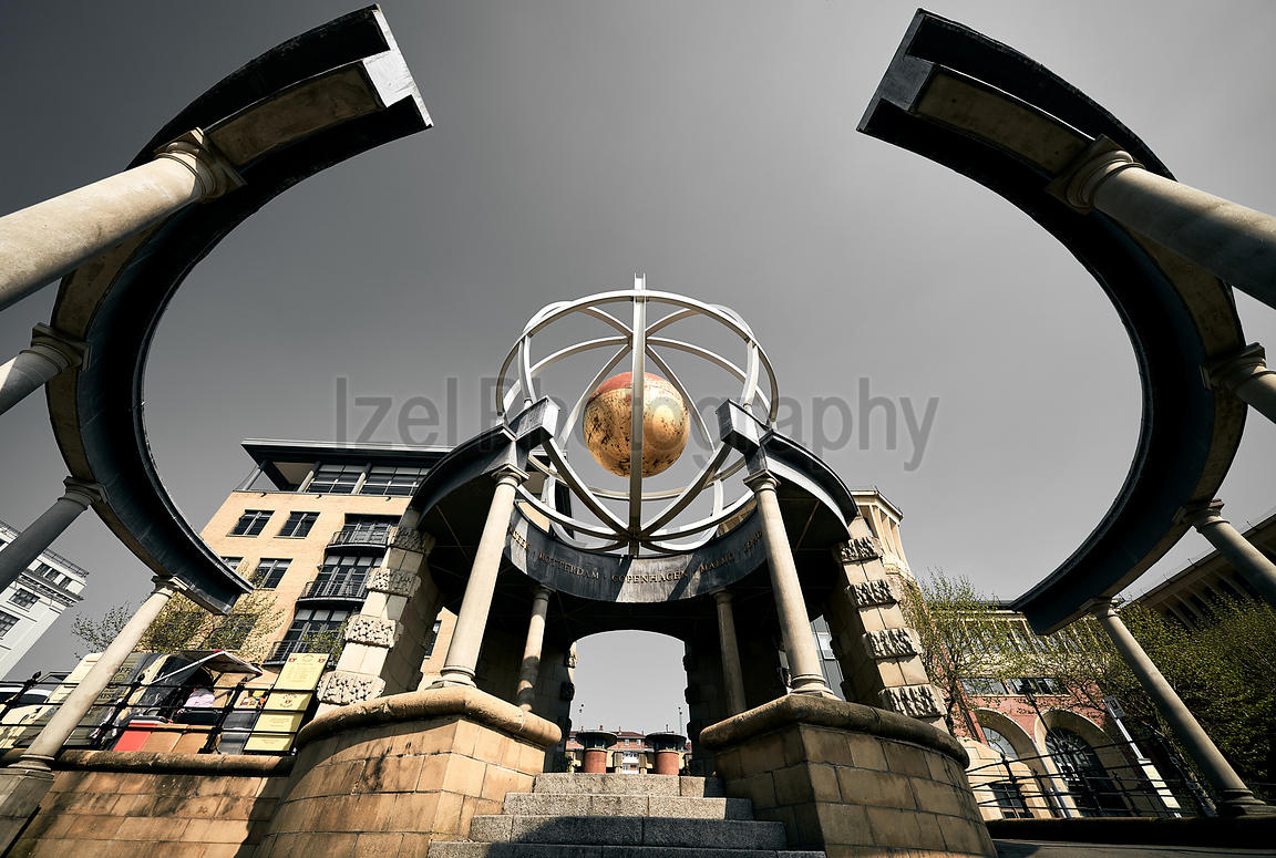 NEWCASTLE UPON TYNE, ENGLAND, UK - MAY 08, 2018: The folley, Swirle Pavillion that marks the International Trading links Newc...