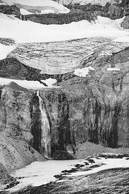 GLACIAL WATERFALL MOUNT RAINIER NATIONAL PARK WASHINGTON BLACK AND WHITE VERTICAL