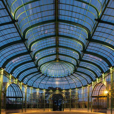 Theater Greenhouse at blue hour, Royal Greenhouses of Laeken, Brussels