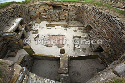 Interior of House 1, Skara Brae neolithic farming village, West Mainland, Orkney Isles, United Kingdom