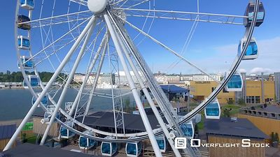 Helsinki aerial skyline panoramic view with ferris wheel Finland