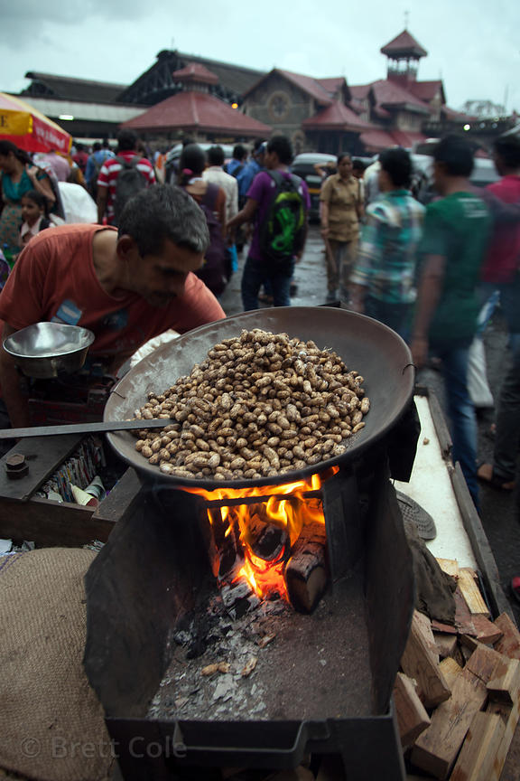 Roasted peanuts for sale at the Bandra Railway Station, Mumbai, India.