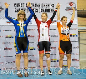 Master F individual Pursuit podium. 2015 Canadian Track Championships, October 10, 2015