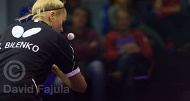 Ukrainian table tennis player Tetyana Bilenko-Sorochynska (Ucam Cartagena) serves during a match against Vic Tennis Taula