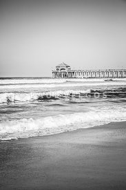 Black and White Photo of Huntington Beach Pier