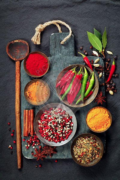 Fresh delicious ingredients for healthy cooking  on rustic background, top view. Diet, cooking, clean eating or vegetarian fo...