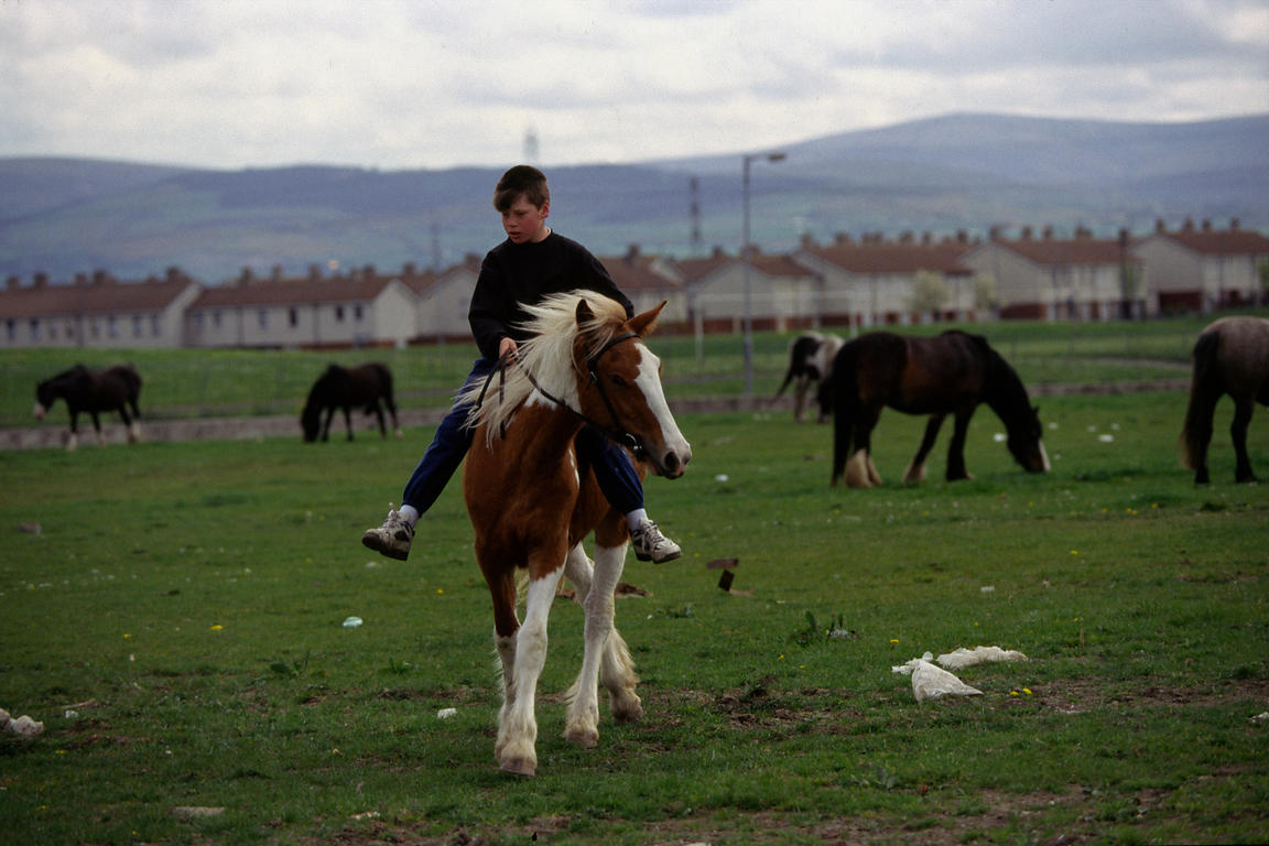A boy with his horse on the Ballymun estate