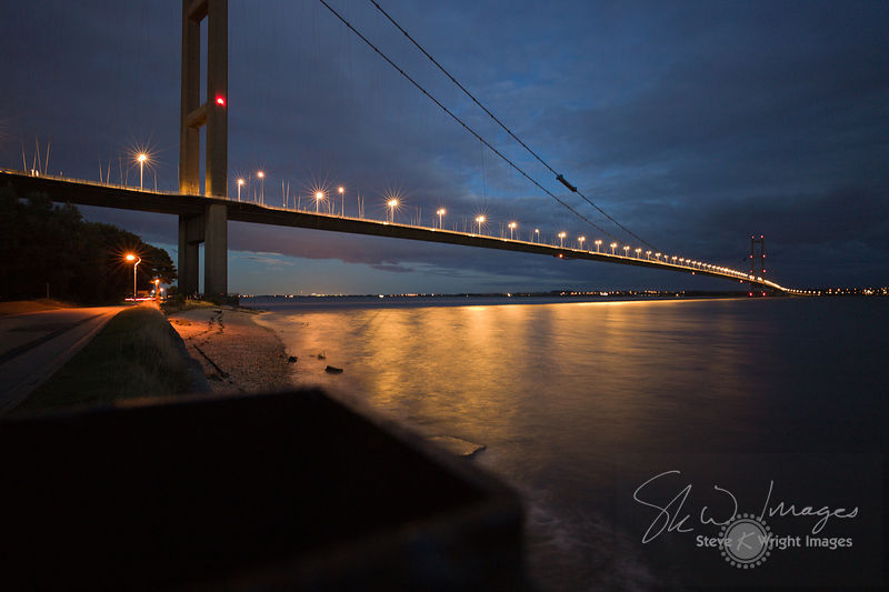 The Humber Bridge and River Humber at dusk - East Yorkshire, United Kingdom