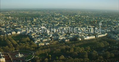 London Aerial Footage of St James's Park with The Mall.