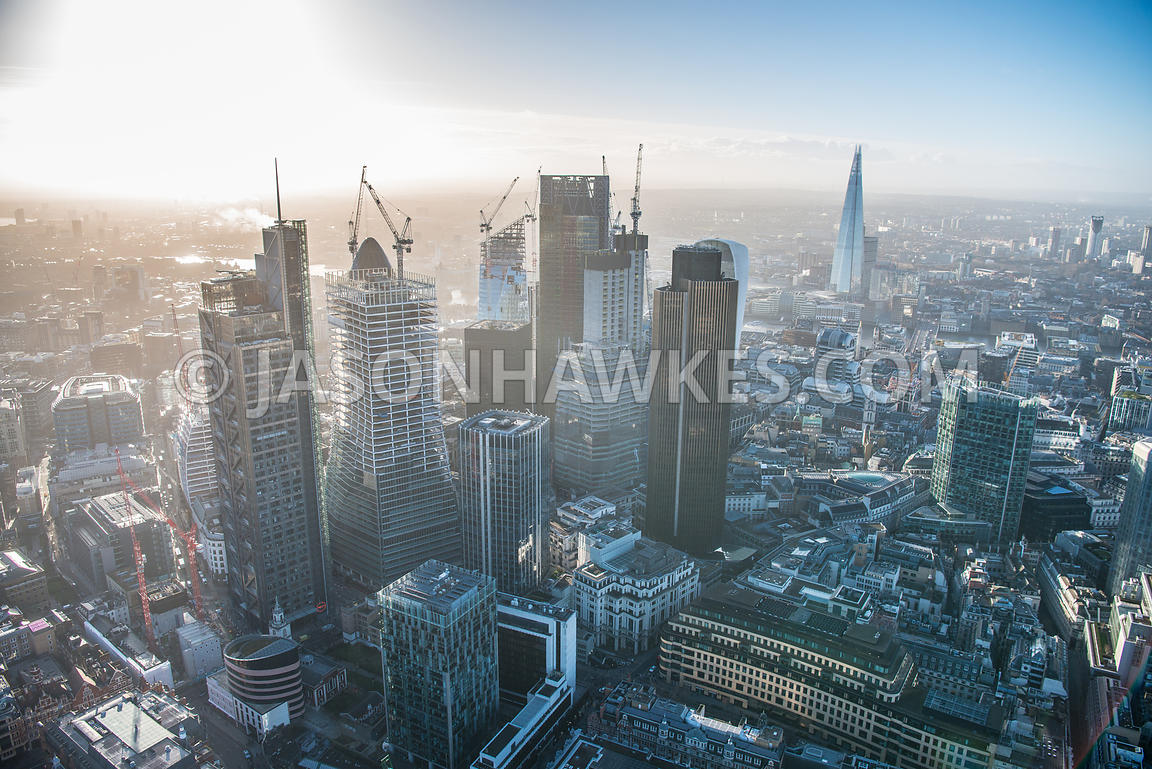 Aerial view of London, construction of 22 Bishopsgate and 100 Bishopsgate with construction of The Scalpel.