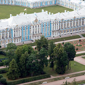 Catherine Palace and park in Tsarskoye Selo (Pushkin, 24 km (15 mi) south of Saint Petersburg. Catherine Palace, built betwee...