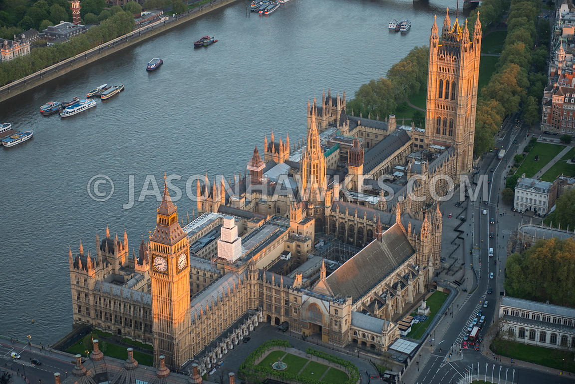 Aerial view of Houses of Parliament and Big Ben, Westminster, London