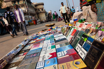 Cigarettes for sale in Varanasi, India. Smoking and chewing tobacco use are extremely common in Varanasi.