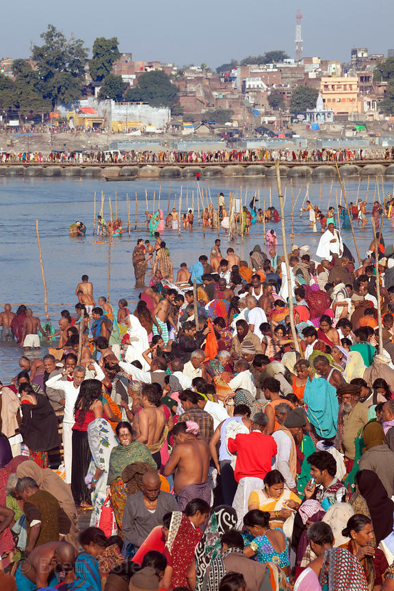 Pilgrims bathing en masse along the Ganges River at the 2013 Kumbh Mela, Allahabad, India.
