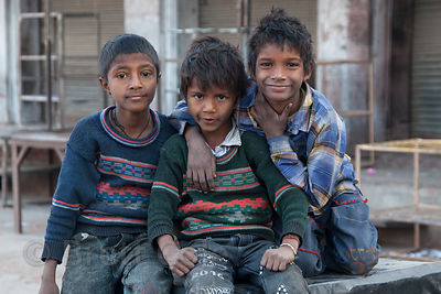 Street kids hamming it up for the camera in Jodhpur, Rajasthan, India