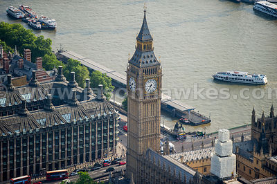 Aerial view of the Elizabeth Tower, Westminster, London