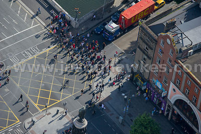 Aerial view of O'Connell Street Lower, Dublin, Ireland