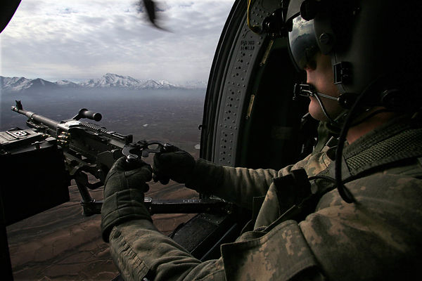 2009. Reconnaissance flight aboard a Black Hawk helicopter from the 101 th Airborne Division.