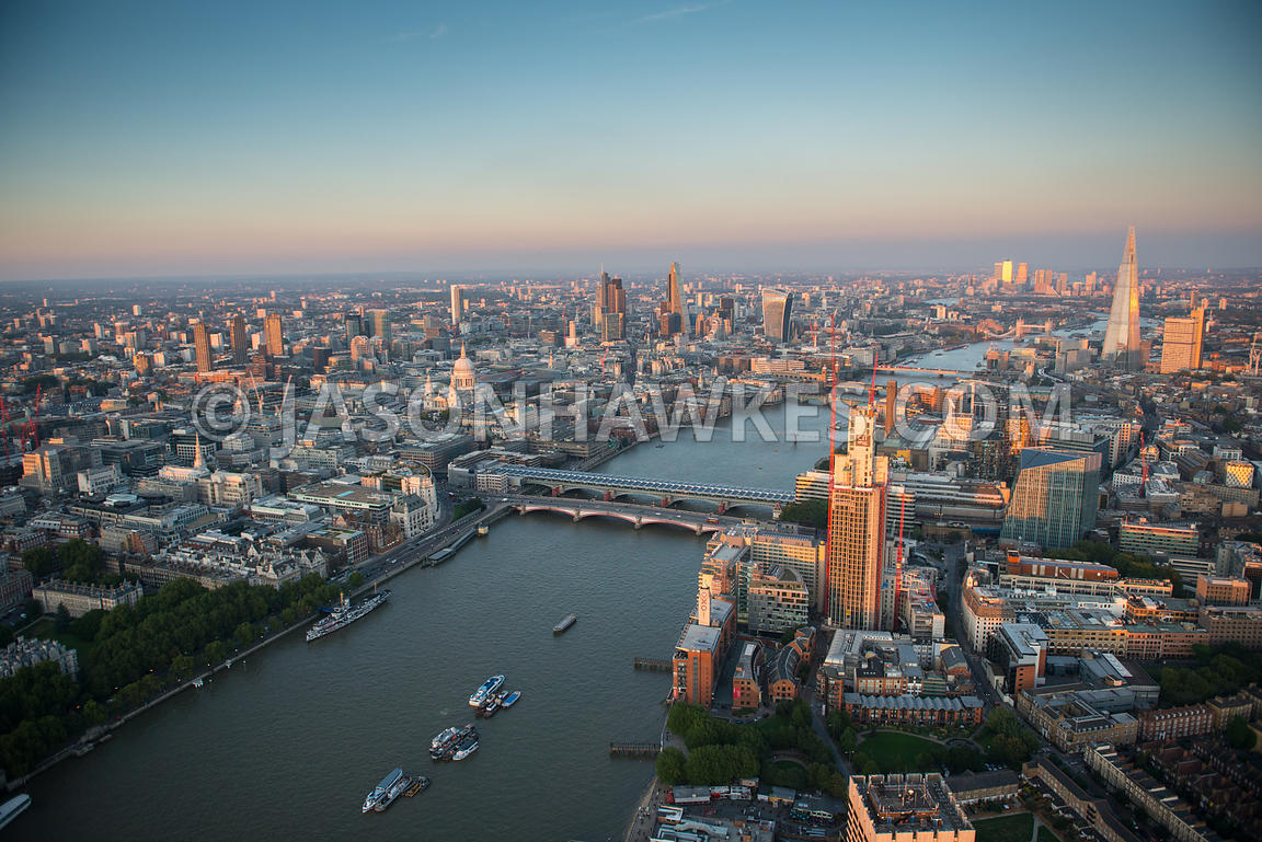 Aerial view of the River Thames, London