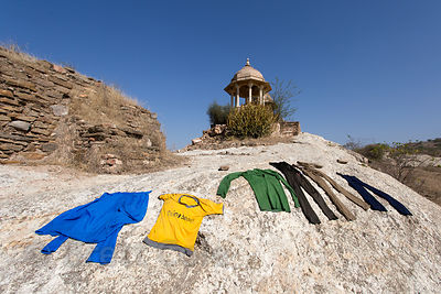 Laundry dries on a rock in Rajgarh village, Rajasthan, India