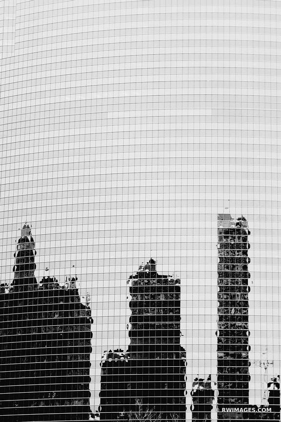CHICAGO ARCHITECTURE DOWNTOWN BUILDING GLASS WALL BLACK AND WHITE VERTICAL