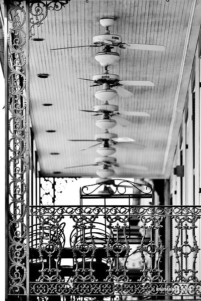 BALCONY FRENCH QUARTER NEW ORLEANS LOUISIANA BLACK AND WHITE VERTICAL