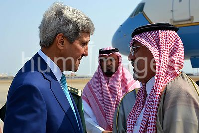 U.S. Secretary of State John Kerry speaks with Saudi Chief of Royal Protocol Azzam before his departure at Royal Terminal of ...
