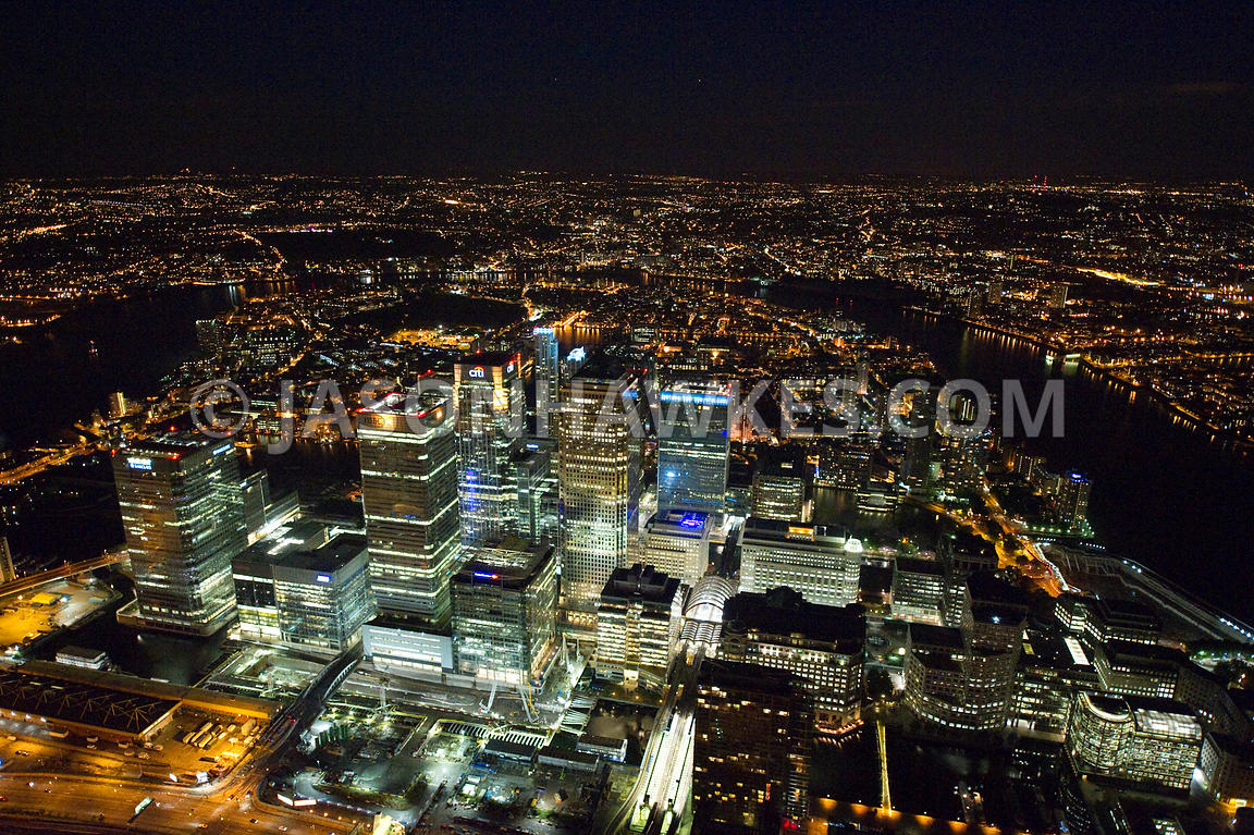 Aerial view over Canary Wharf at night, London