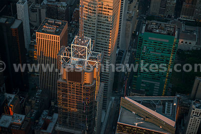 Aerial view of the Condé Nast Building, officially 4 Times Square, a skyscraper in Times Square in Midtown Manhattan