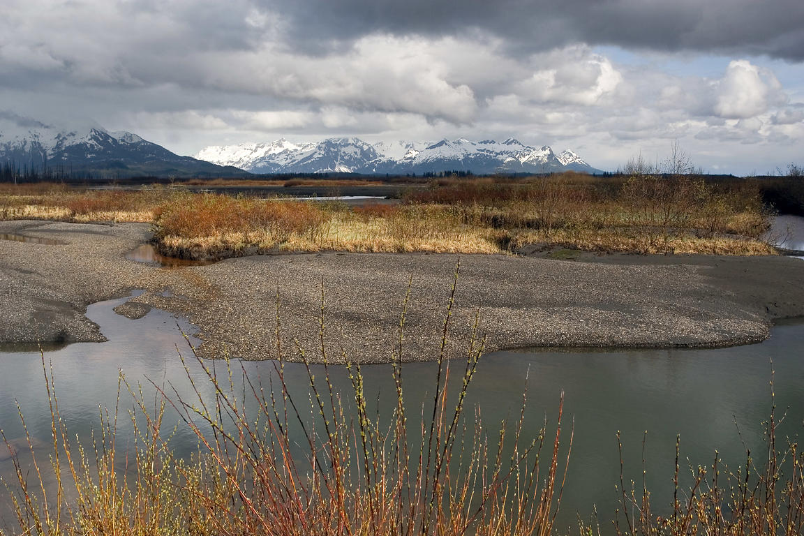 Eyak River flats with the Chugach Mountains in the background, near Cordova, Alaska
