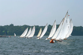 2nd S-boat start at the Herreshoff Rendezvous, 2004, off Popasquash Point in Bristol Harbor, RI.
