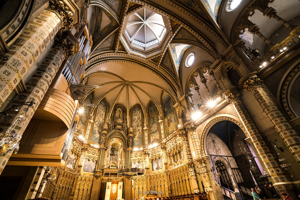 Inside the basilica Santa Maria de Montserrat on the Montserrat rocky range in Barcelona, Spain