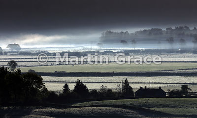 First frost of autumn in misty, early morning Lyth Valley, October 14, Cumbria, England